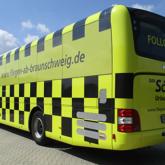 Vollfolierung Reisebus mit Lochfolie