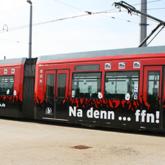 vollfolierte und beschriftete FFN Straßenbahn